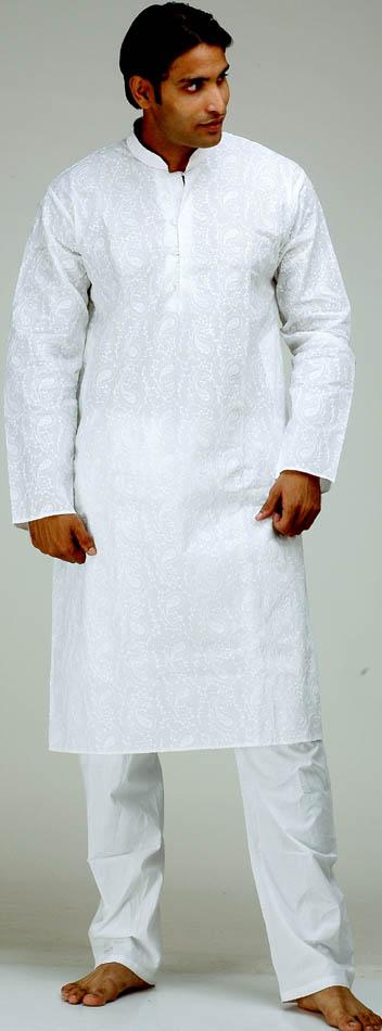 Milky White Chikan Embroidered Kurta Set