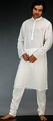Milky-White Kurta Pajama with Checks in Self