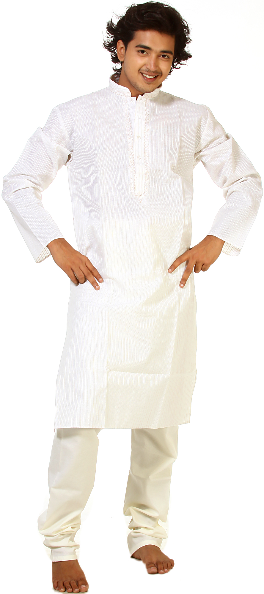 Ivory Kurta Pajama With Embroidery On Neck And Woven Stripes