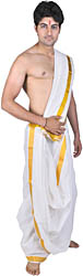 Chic-White Dhoti and Veshti Set with Thread Weave on Border