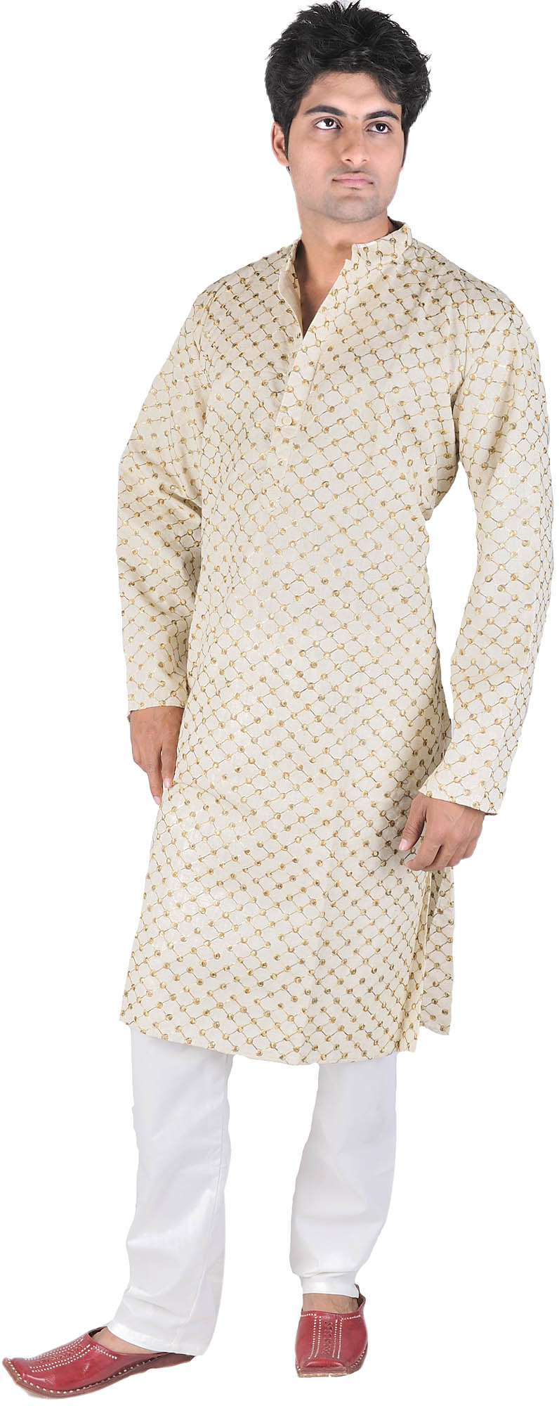 Ivory Kurta Pajama With AllOver Jaal Embroidery