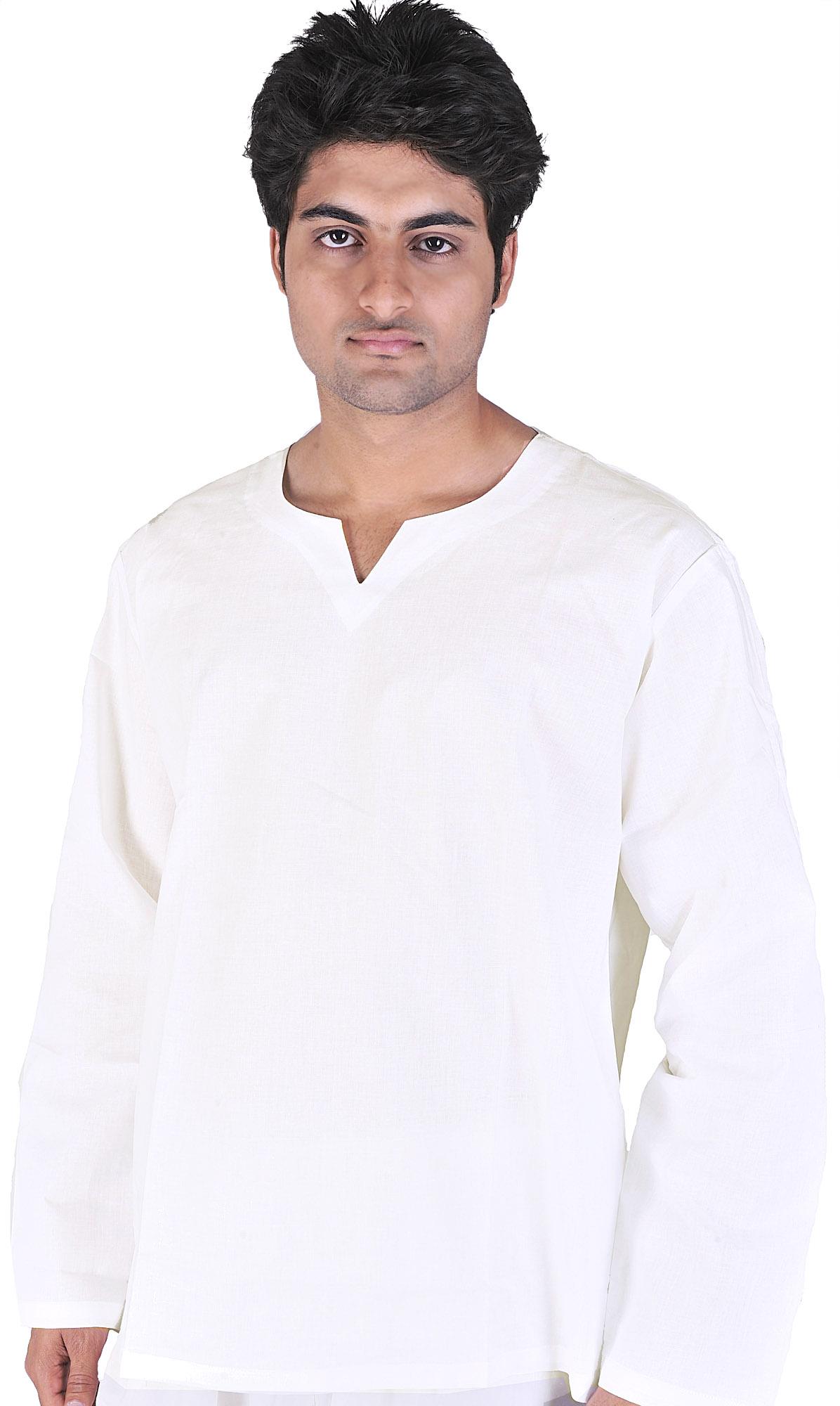 White Kurta Plain White V-neck Short Kurta