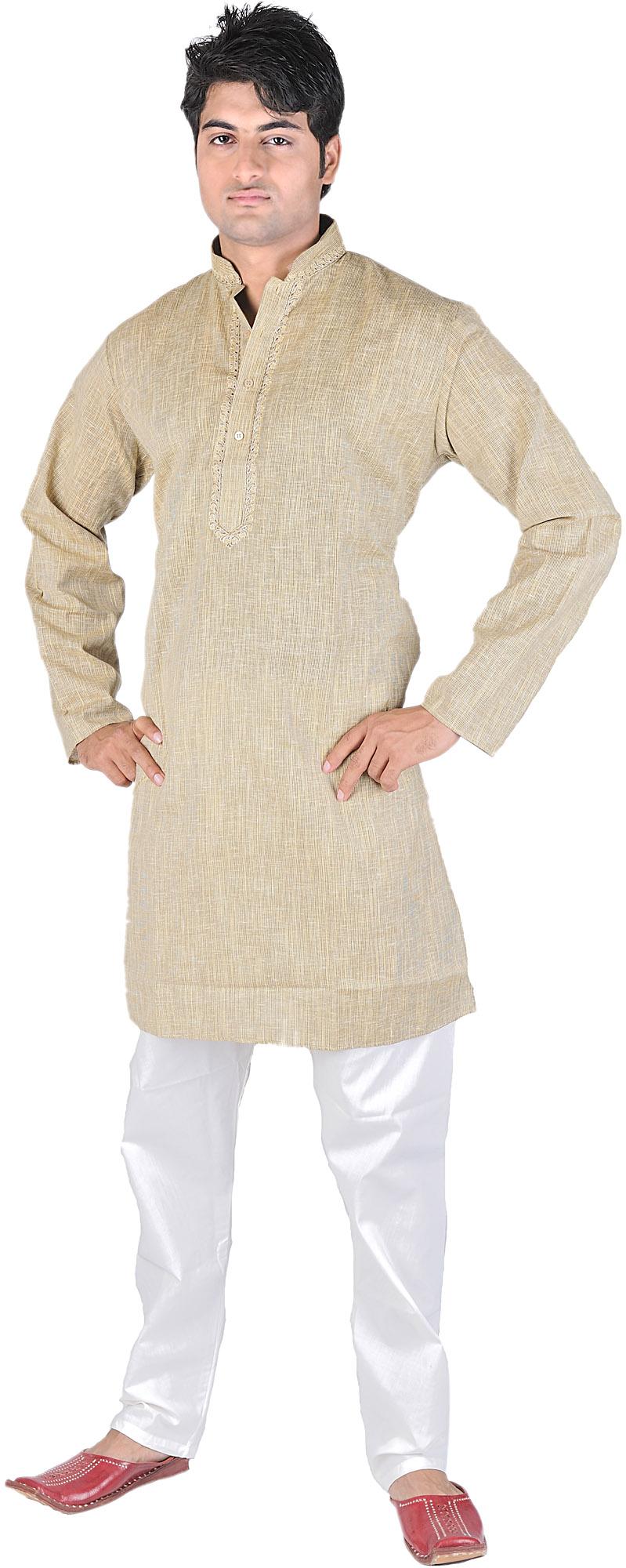 Beige Kurta Pajama With Embroidery On Neck And Fine Stripes