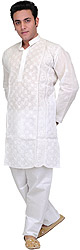 Star-White Kurta Pajama with Lukhnavi Chikan Embroidery by Hand