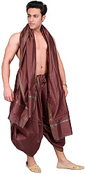 Dhoti and Angavastram set with Golden Woven Paisley on Border