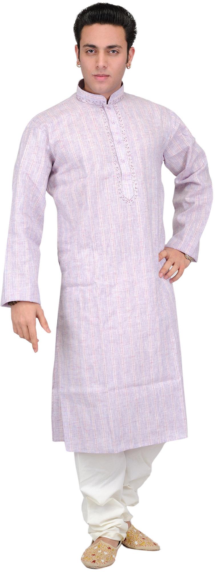 Kurta Pajama Set With Embroidery On Neck And Fine Stripes