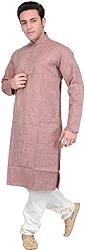 Hazel-Brown Kurta Pajama with Stripes and Thread Embroidery on Neck