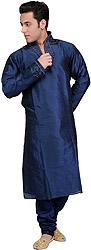 Indigo-Blue Wedding Kurta Pajama with Embroidered Beads