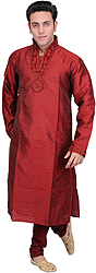 Rio-Red Wedding Kurta Pajama with Embroiderded Beads