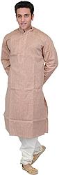 Tuscany Kurta Pajama Set with Embroidery on Neck and Fine Stripes