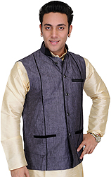 Gray-Black Men's Waistcoat with Velvet Lapel