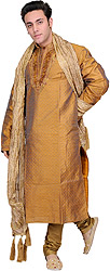 Three-Piece Pale-Gold Wedding Kurta Pajama Set with Embroidered Beads on Neck