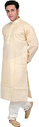 Plain Kurta Pajama with Thread Embroidery on Neck