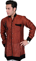 Oxblood-Red Designer Shirt with Embroidered Motif in Black