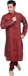 Tango-Red Kurta Pajama with All-Over Threadwork