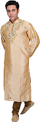 Golden-Beige Wedding Kurta Pajama with Faux Pearl Embroidery on Neck