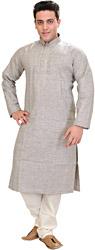 Khadi Kurta Pajama with Thread Embroidery on Neck