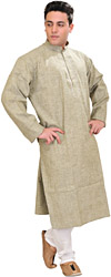 Khadi Kurta Pajama with Thread Embroidery on Neck