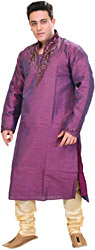 Royal-Purple Wedding Kurta Pajama Set with Embroidered Beads on Neck