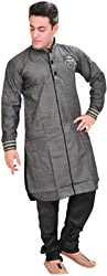 Jet-Black Designer Kurta Pajama Set with Embroidered Collar