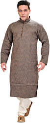 Kurta Pajama with Woven Stripes and Chinese Collar