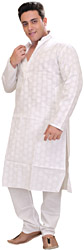 Winter-White Kurta Pajama Set with Self Weave and Chinese Collar