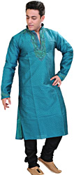 Peacock Wedding Kurta Pajama with Crystal Embroidered on Neck
