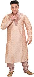 Cream-Pink Wedding Kurta Pajama with Embroidered Beads