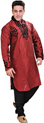 Rio-Red Designer Applique Kurta with Black Pajamas
