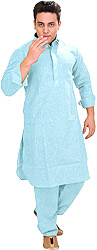 Plain Pathani Kurta Shalwar with Thread Embroidery on Neck
