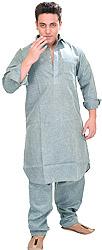Plain Pathani Kurta Shalwar with Thread Embroidery on Neck