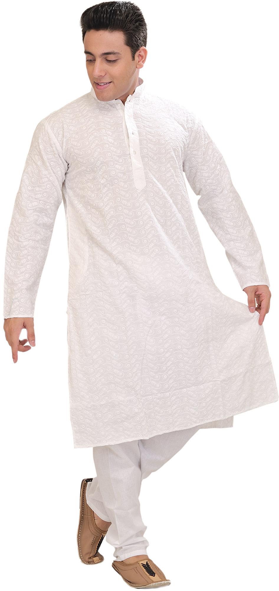 WinterWhite Embroidered Lukhnavi Chikan Kurta Pajama