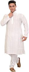 Winter-White Embroidered Lukhnavi Chikan Kurta Pajama