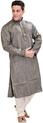 Dark-Gray Kurta Pajama with Embroidery on Neck and Fine Stripes