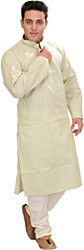 Kurta Pajama with Fine Woven Stripes and Embroidery on Neck