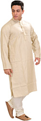 Vanilla Kurta Pajama with Fine Woven Stripes and Embroidery on Neck