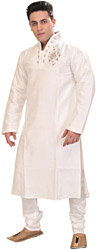 Snow-White Wedding Kurta Pajama with Crystal and Faux Pearl Embroidery