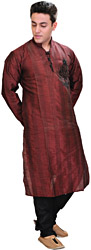 Rubywine-Red Designer Kurta Pajama with Black Velvet Applique and Woven Stripes