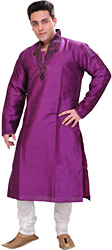 Bright-Violet Wedding Kurta Pajama with Embroidered Beads on Neck
