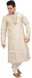 Ivory Wedding Designer Kurta Pajama Set with Woven Paisleys and Bead-Embroidered Neck