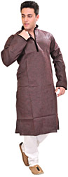 Kurta Pajama with Velvet Applique Work on Neck and Chinese Collar