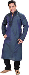 Ensign-Blue Wedding Kurta Pajama Set with Hand-Embroidered Beads on Neck