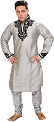 Silver-Colored Kurta Pajama with Velvet-Applique on Neck