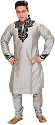 Silver-Colored Kurta Pajama with Velvet-Applique on Neck