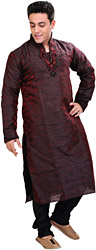 Oxblood-Red Wedding Kurta Pajama Set with Beads Embroidered on Neck