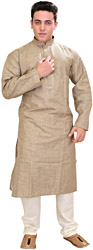 Kurta Pajama with Woven Checks and Thread-Embroidery on Neck