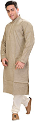 Kurta Pajama with Woven Checks and Thread-Embroidery on Neck