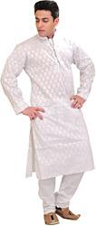 White Kurta Pajama with Woven Bootis All-Over