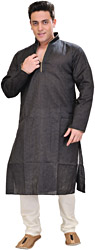 Mood-Indigo Kurta Pajama with Fine Woven Stripes in Green Thread