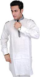 White Designer Men's Short Kurta with Front Pocket